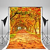 5x6.5ft Yellow Natural Scenic Photography Backdrops Autumn Backdrop Beautiful Leaves Trail Photo Studio Background WY00045