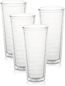 Srenta 22-Ounce Insulated Tumblers | Doubled Walled Insulated Cups Made From Tritan Plastic | Contains No BPA or BPS | Clear Tumbler Works in Dishwasher, Microwave & Freezer | 4 Pack
