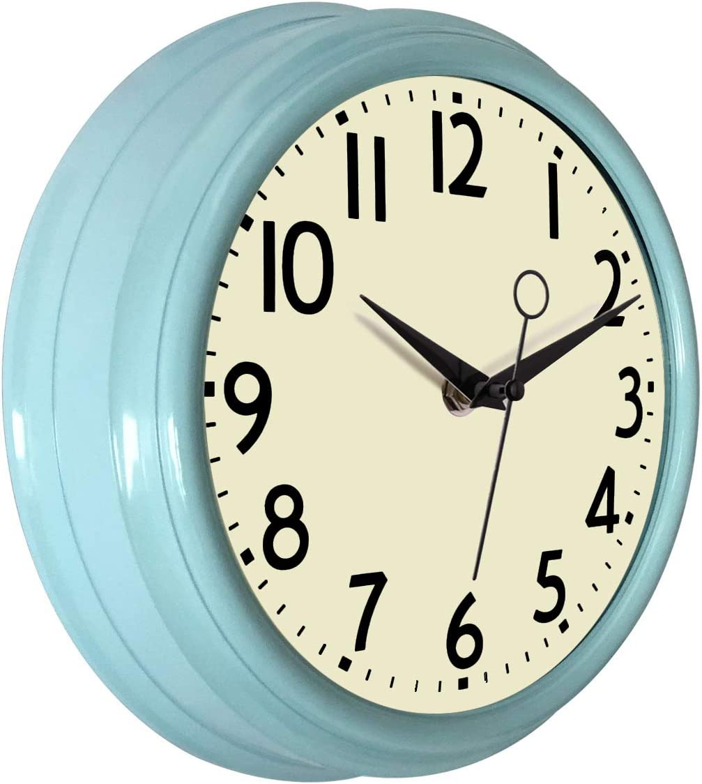 Lumuasky Retro Wall Clock 9.5 Inch Blue Kitchen 50's Vintage Design Round Silent Non Ticking Battery Operated Quality Quartz Clock (Robin Egg Blue)