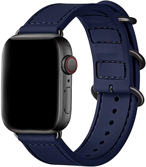 BesBand Compatible with Apple Watch Bands 44mm 42mm 40mm 38mm for Women Men,Soft Silicone Sport Strap Replacement Band for Apple Watch SE & iWatch Series 6/5/4/3/2/1 (Navy blue/Black, 38mm 40mm)