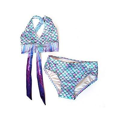 18b760c5cdf5c Amazon.com: Sun Tails Mermaid Swimsuit - Girls Bikini Set - Matching Scale  Colors: Clothing