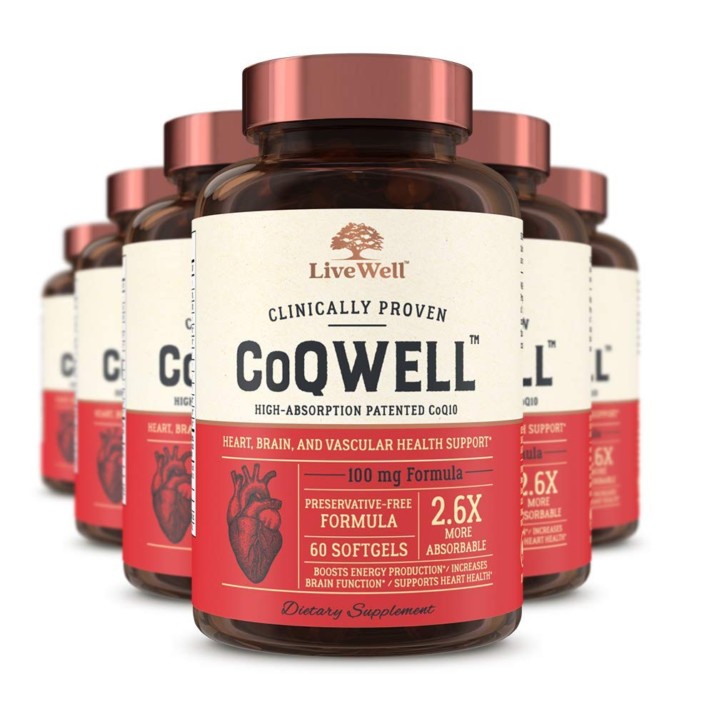 CoQ10 Heart, Brain, and Vascular Health Support - CoQWell | High-Absorption, Patented Coenzyme Q10 CoQsol | 360 Softgels - 360 Day Supply
