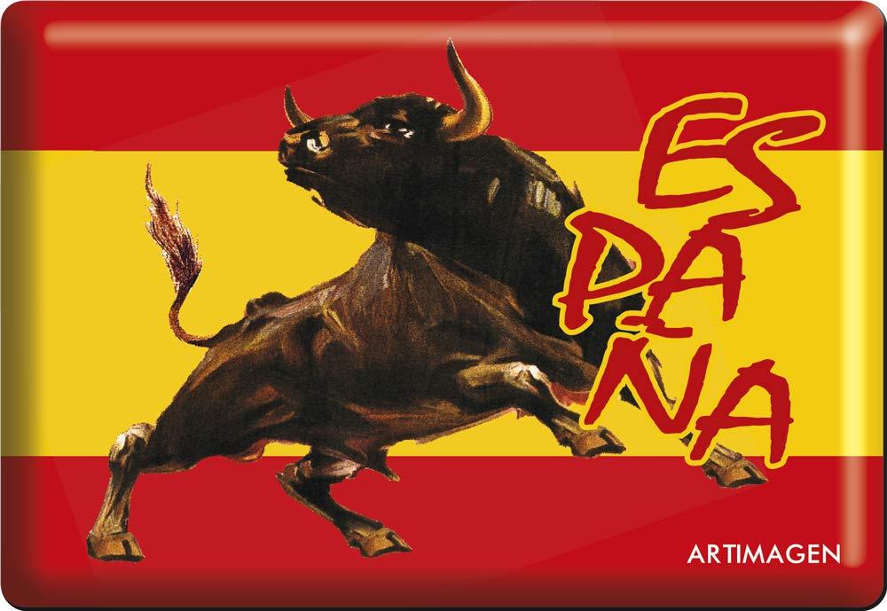 Artimagen Imán Bandera España con Toro marrón 80x55 mm. Resina ...