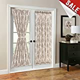 French Door Panel Curtains Paisley Scroll Printed Linen Textured French Door Curtain 72 inches Long French Door Panels for Glass Door Tieback Included 1 Panel Taupe