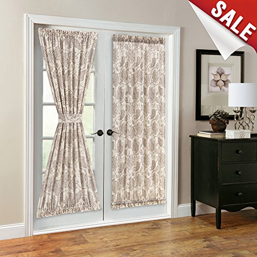 3 Panel Scroll - French Door Panel Curtains Paisley Scroll Printed Linen Textured French Door Curtains 72 inches Long French Door Panels, Tieback Included, 1 Panel, Taupe