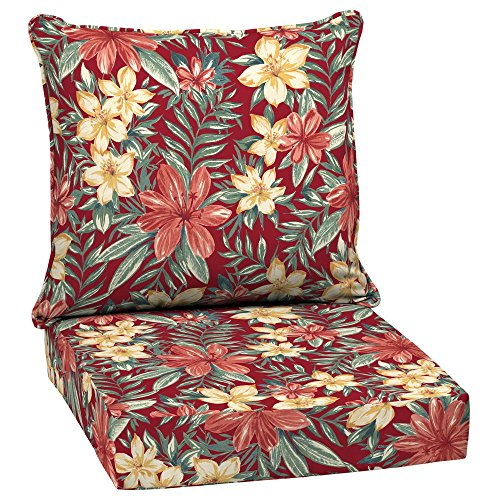 Arden Selections 24 x 24 Ruby Clarissa Tropical 2-Piece Deep Seating Outdoor Lounge Chair Cushion (Cushions Outdoor Arden)