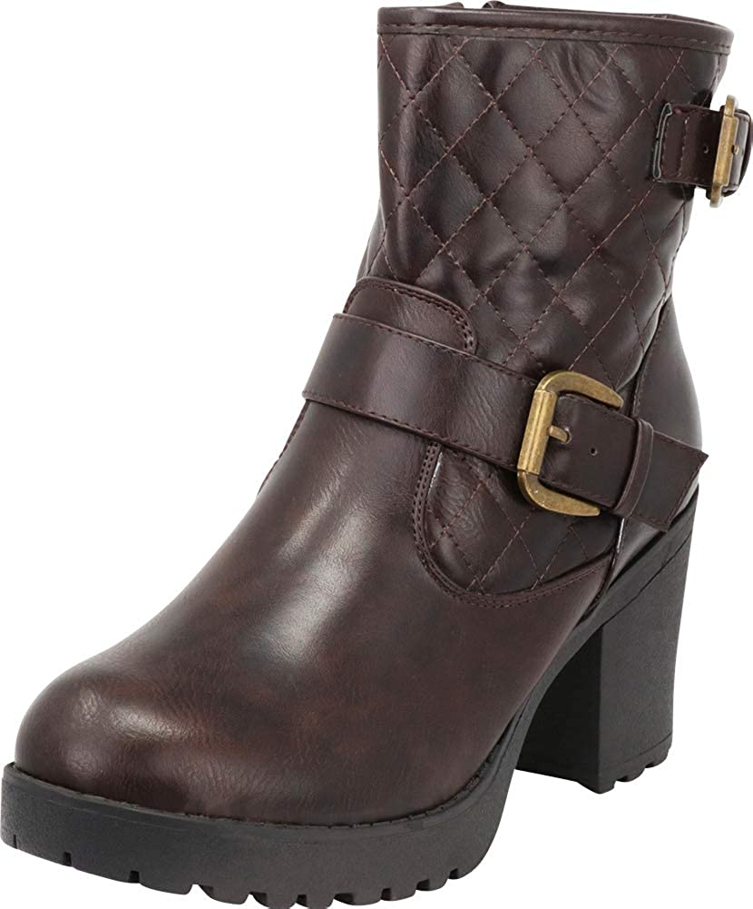 Brown Pu Cambridge Select Women's Quilted Moto Chunky Lug Sole Platform Block Heel Ankle Bootie