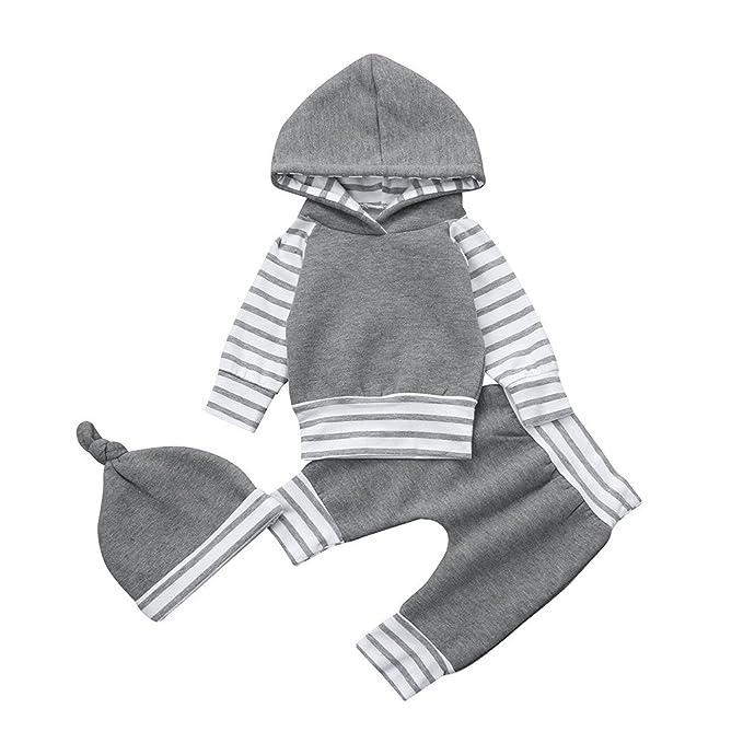 YanHoo Ropa para niños Traje de 3 Piezas de suéter con Capucha a Rayas Infantil Recién Nacido bebé niño niña a Rayas Sudadera con Capucha Tops + Pants + Hat ...