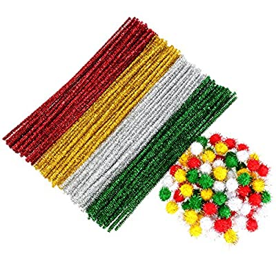 Shappy 240 Pieces Glitter Pipe Cleaners Pompoms Christmas Glitter Poms for Crafts DIY Art Supplies, 4 Colors