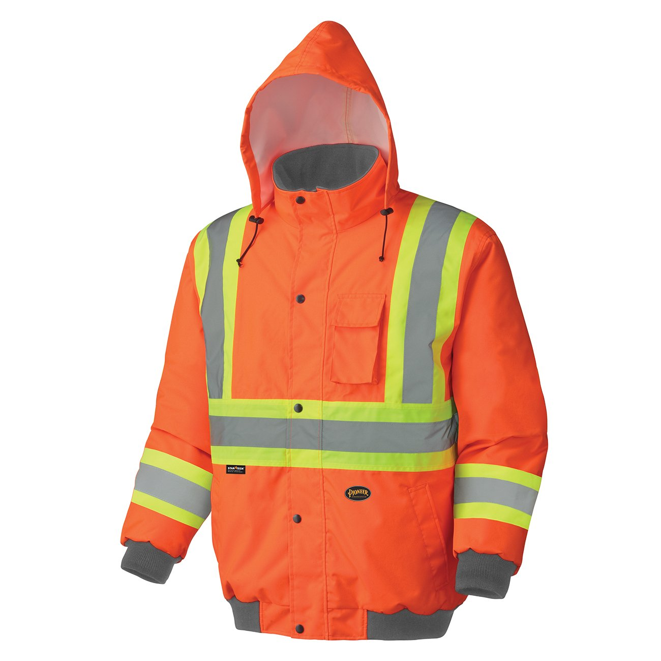Pioneer V1150250-L Winter Quilted Safety Bomber Jacket-Waterproof, Orange, L
