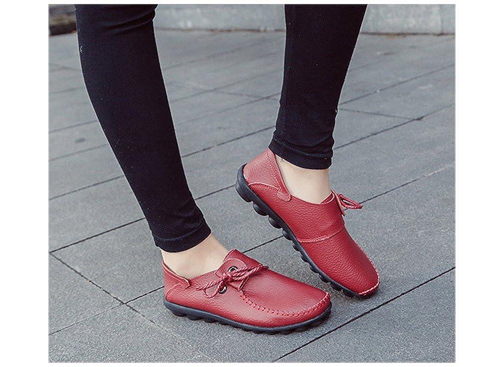 Fluores Scarpe casual in da donna in casual pelle di mucca stile autunno nuovo Mocassini Scarpe da donna scarpe stringate donna con lacci WineRed 9  - b7dd5f