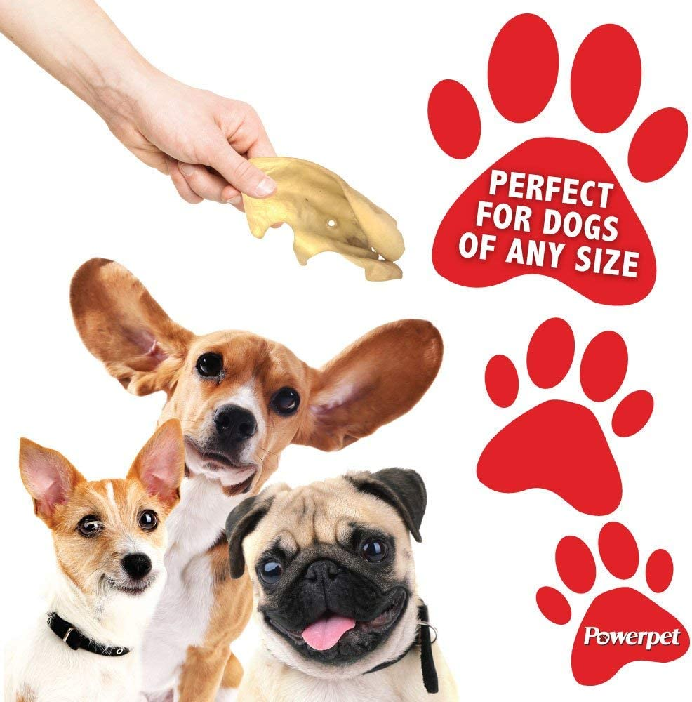 100 Pack Powerpet 100/% Natural Cow Ears for Dogs