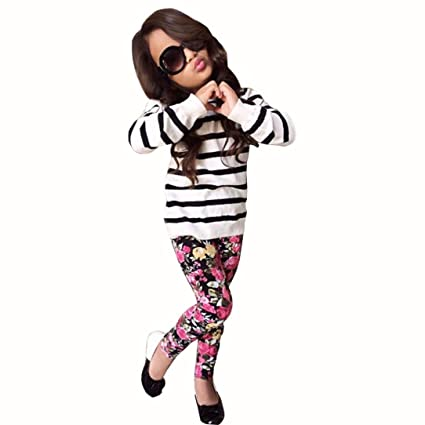077165a9eb61 HOT SALE!!2-9 Years Old Baby Girls Outfit Clothes Stripe Long Sleeve Tops +  Floral Long Pants (White, 6-7Y)