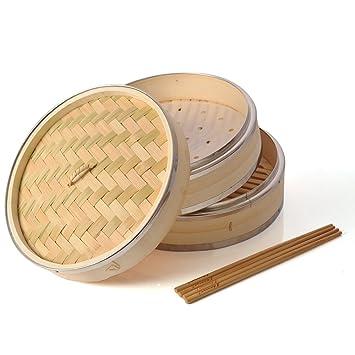 Amazon De Bambus Steamer 25 4 Cm Haneye 2 Etagen Bambus