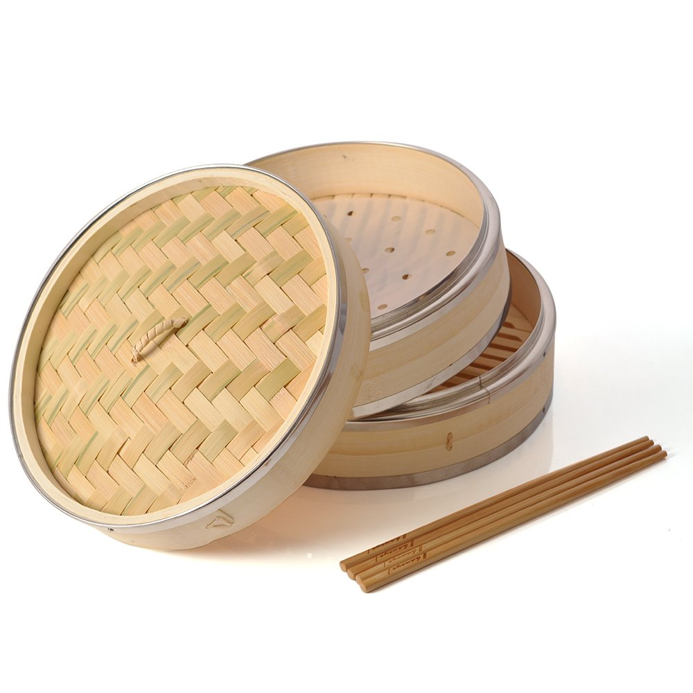 Bamboo Steamer 10 inch, Haneye 2 Tier Bamboo Steamers for Steaming Dim Sum Dumplings Buns Vegetables Meat Fish Rice (Includes 2 Pairs Chopsticks and 100 Steamer Paper Liners)