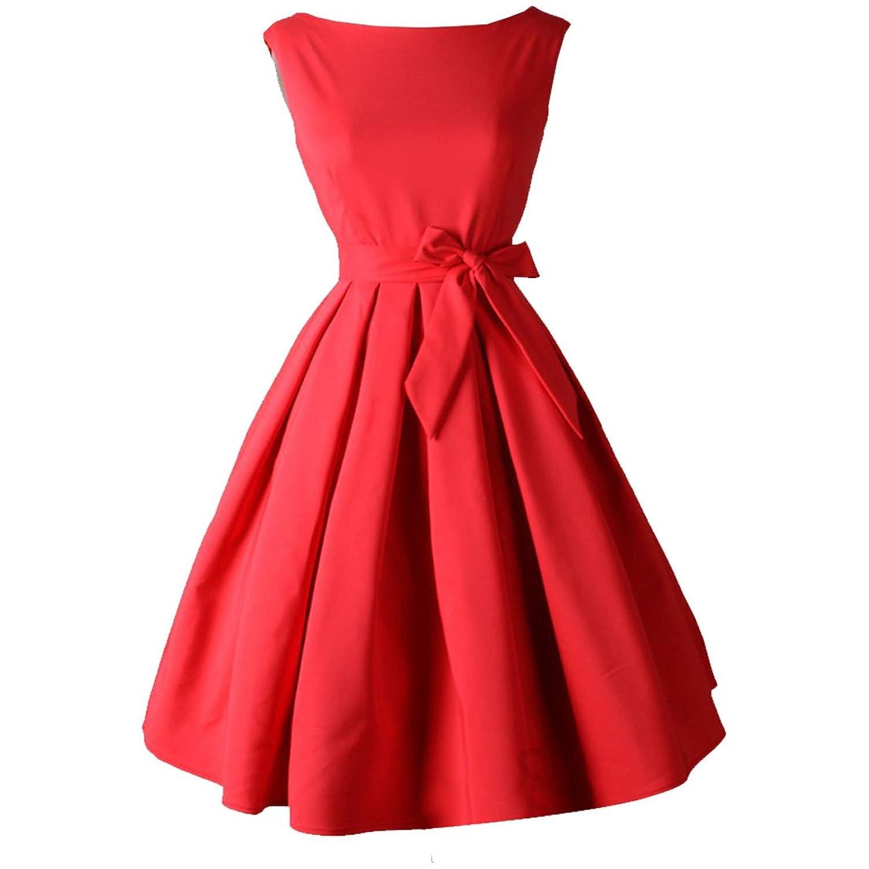 Partiss Damen Frauen Klassisch A-Linie Elegant Kleider Franzoesisch Stil Schleife Aermellos Knielang Kleid