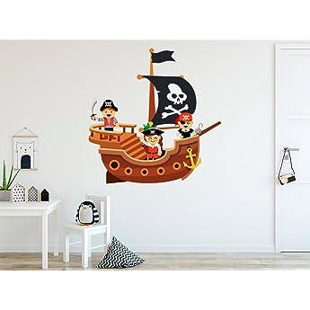 Vinilo Decorativo para Pared Barco Pirata | Varias Medidas 100x100cm | Pegatina Adhesiva Decorativa de Diseño Elegante: Amazon.es: Hogar