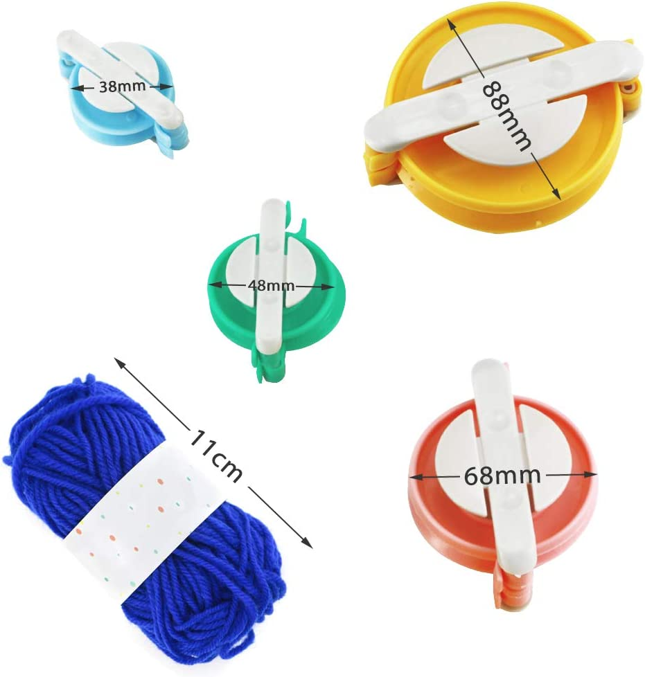 Faxco 4 Size Pompom Maker Fluff Ball Waver with 12 Colours Skeins Acrylic Yarn for DIY Wool Yarn Knitting Craft Project