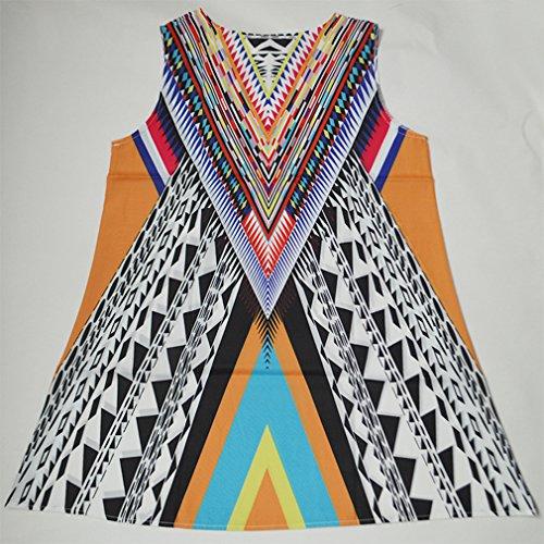 la de Cuello Honghu Redondo del Mujeres Multicolor18 la las Mangas Vendimia de Vestido de Verano Impresión Sin gU0XXqHpw
