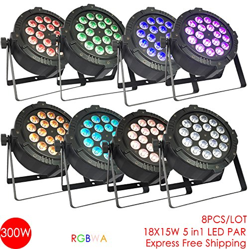 8pcs/lot 18x12W 5in1 RGBWA LED PAR uplight for Wedding Party Stage DJ Church Theatre Decorative Effect light