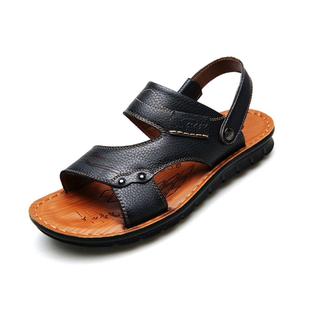 WYYY Calzado De Hombre Sandalias Temporada De Verano Fondo Suave Transpirable Punta Abierta Antideslizante Zapatillas Zapatillas De Palabra Zapatos Casuales Sandalias De Playa EU39/UK6|Negro
