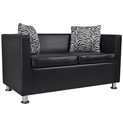 Amazon.com: vidaXL Modern Black Artificial Leather Sofa 2-Seater ...