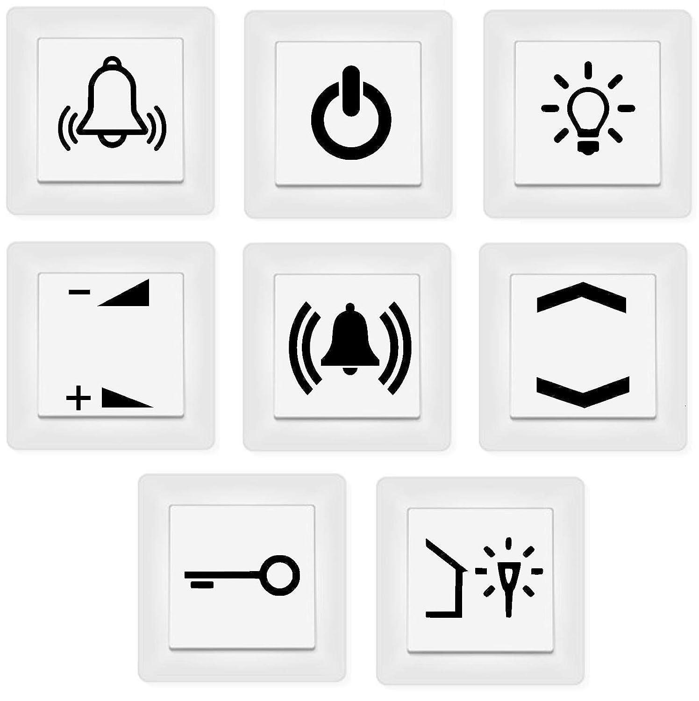 Generisch Schalter Aufkleber Schalter Beschriftung Glocke Klingel Licht Schlüssel Auf Zu 1253 Schwarz Glanz