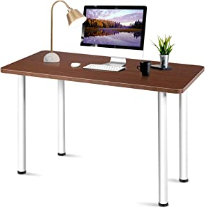 """Tangkula 47"""" Computer Desk, Multi-Use Writing Table Modern Simple Study Desk Writing Desk for Home Office, Large Heavy-Duty Work Table Laptop Desk Table Office Furniture with Round Corner (Coffee)"""