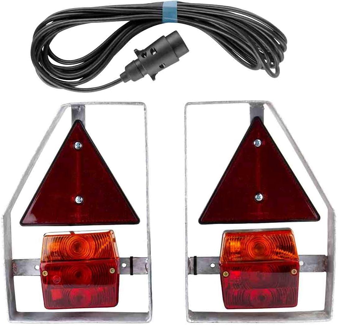 Anh/ängerbeleuchtung mit Metallhalterung verzinkt 7 Pol Stecker Beleuchtung Anh/änger Metall Halterung 7 polig