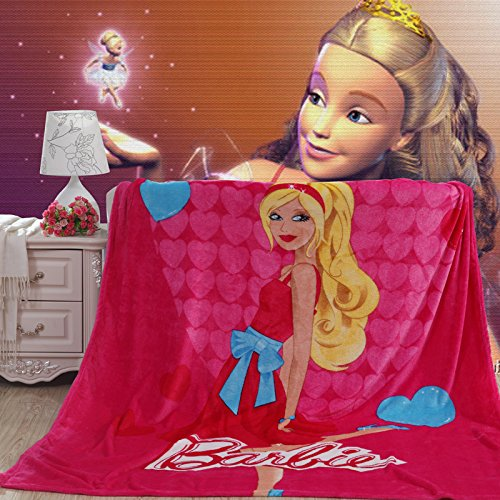 Blaze Children's Cartoon Printing Blanket Coral Fleece Blanket 59 By 79 (Barbie)