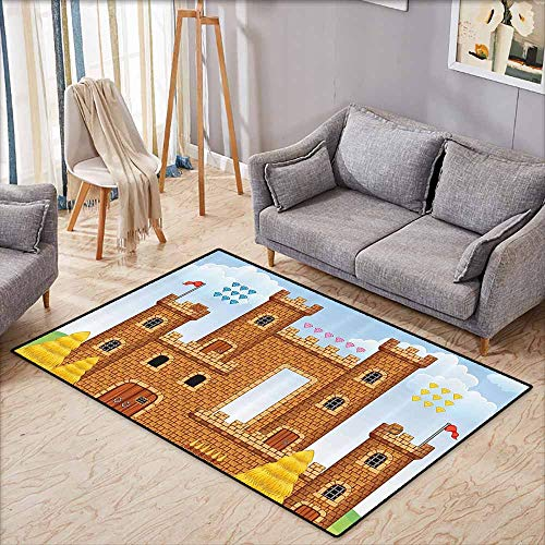 Custom Door Rugs for Home Rugs Children Video Game Background with Castle Leisure Hobby Activity Kids Youth Design Light Caramel Blue with Anti-Slip Support W5'2 xL4'6