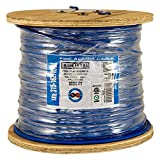 Vertical Cable Fire Alarm Cable, 16 AWG, 2 Conductor, Solid, Unshielded, FPLR (Riser), 1000ft Spool, Blue - Made in USA