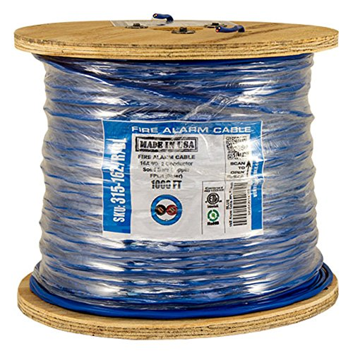 Vertical Cable Fire Alarm Cable, 16 AWG, 2 Conductor, Solid, Unshielded, FPLR (Riser), 1000ft Spool, Blue - Made in USA by Vertical Cable