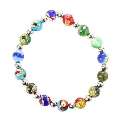 7a07a3dc4d375 SODIAL(R) Multicolor Millefiori Lampwork Glass Bracelet Fashion