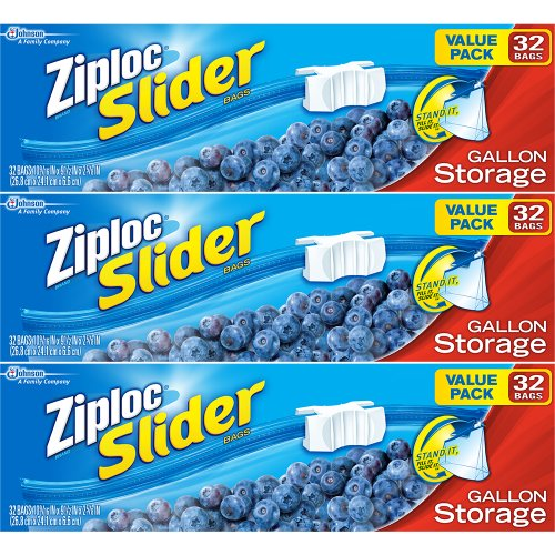 Ziploc Slider Storage Bags Gallon Value Pack 32 Ct Pack