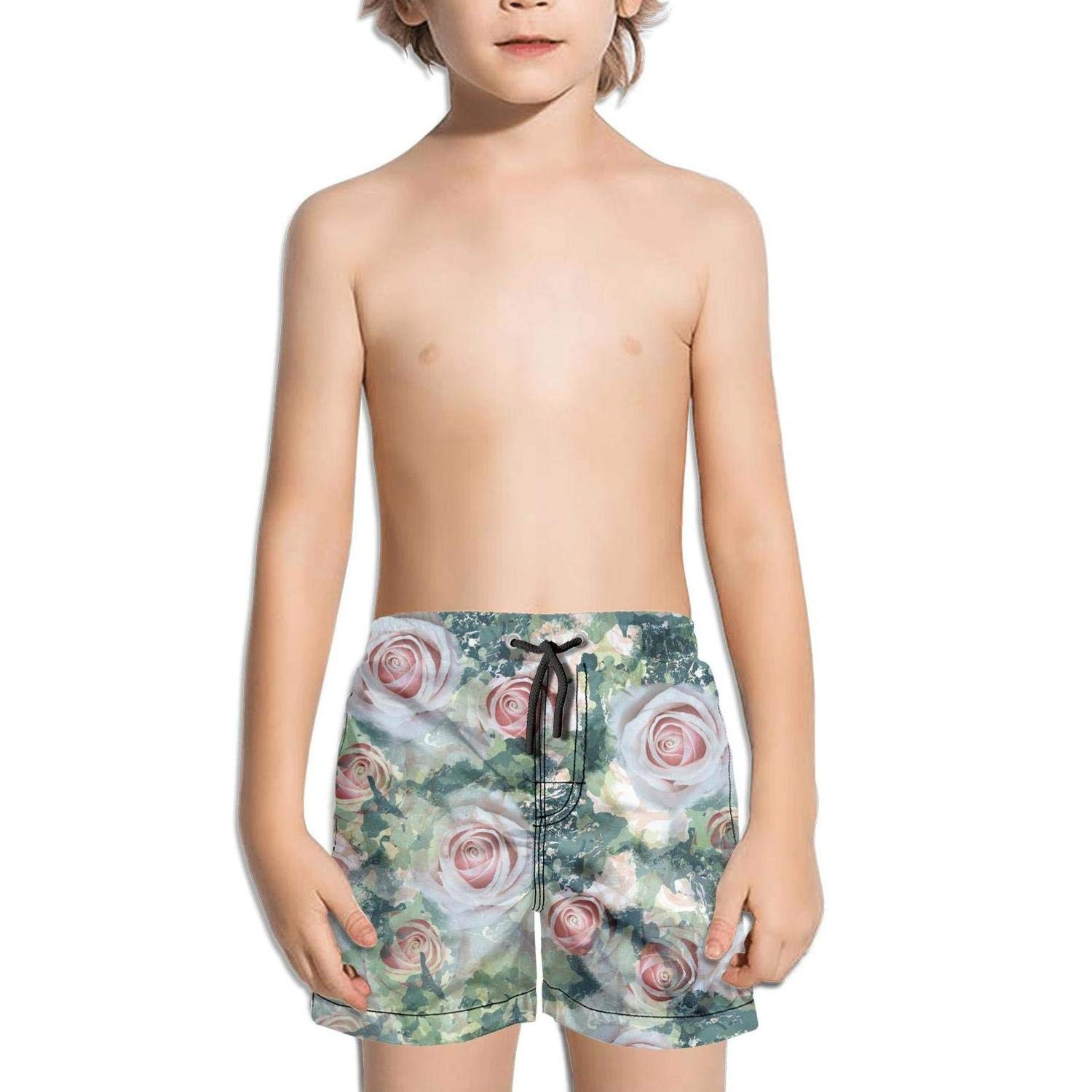 Camouflage Floral Swatch with Watercolor Cargo Solid Side Split Swim Shorts