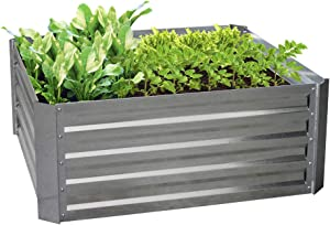 BLUEBERRY HILL Galvanized Raised Garden Bed 40Lx40Wx16H Inch Steel Outdoor Planters for Flower Herb Garden - 16 Inch Extra Tall Great to Grow Fruit and Root Vegetables.