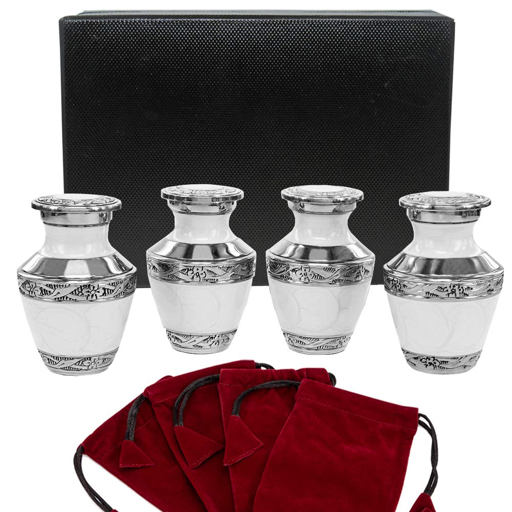 Everlasting Love White Small Keepsake Urns for Human Ashes - Set of 4 - Beautiful and Timeless - Find Comfort with These High Quality Mini Cremation Urns - w Case and 4 Indivdual Velvet Bags by Trupoint Memorials