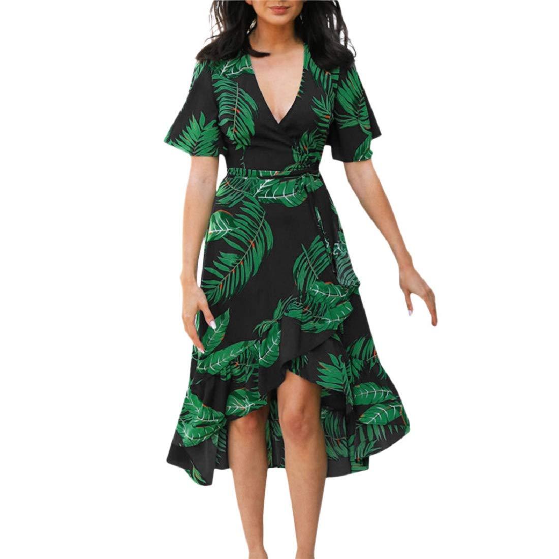 Soupliebe Sommerkleid Damen Kleid Boho Langes Kleid Blätter Druckt V-Ausschnitt Kurzarm Kleid mit Gürtel Abendkleider