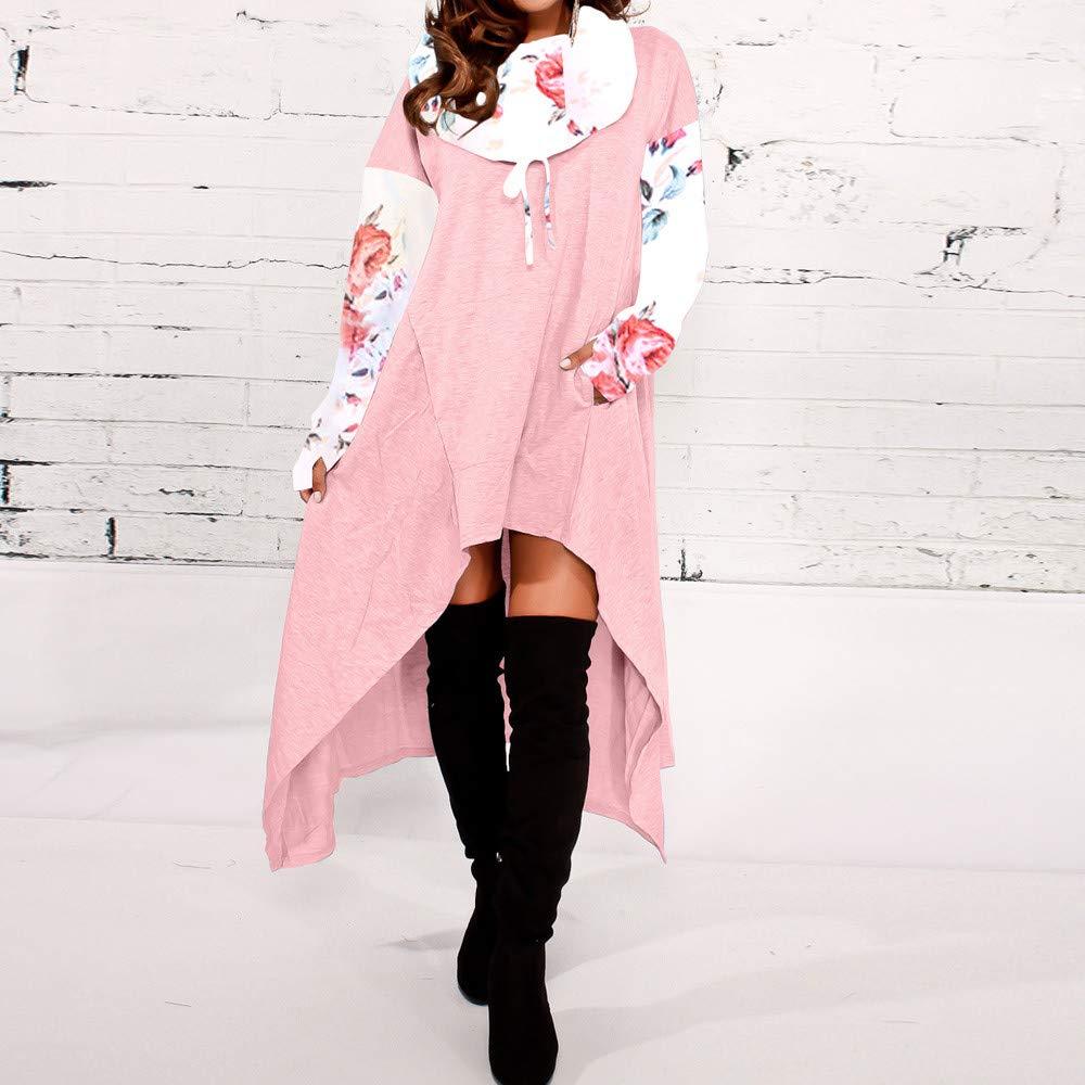 GOVOW Women Cotton Casual Soft Irregular Hem Hood Hooded Ladies Long Pullover