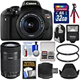 Canon EOS Rebel T6i Wi-Fi Digital SLR Camera & EF-S 18-55mm is & 55-250mm is STM Lens 32GB Card + Case + Flash + Tripod + 2 Filters + Kit