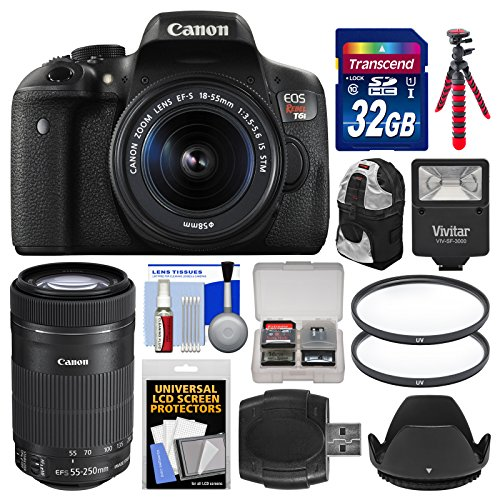 Canon EOS Rebel T6i Wi-Fi Digital SLR Camera & EF-S 18-55mm is & 55-250mm is STM Lens with 32GB Card + Case + Flash + Tripod + 2 Filters + Kit