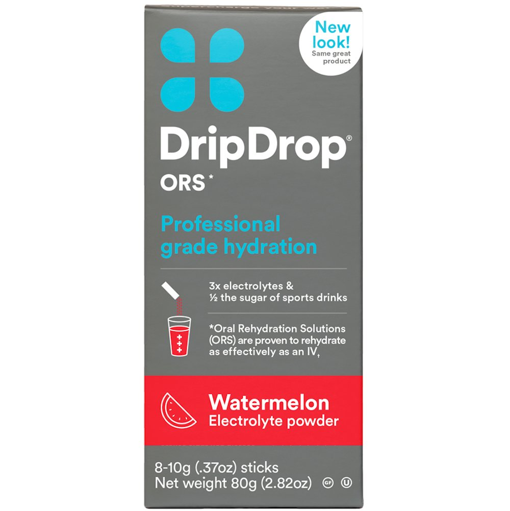 DripDrop ORS Electrolyte Hydration Powder Sticks, Watermelon, Individual 10g Sticks, 8 Count