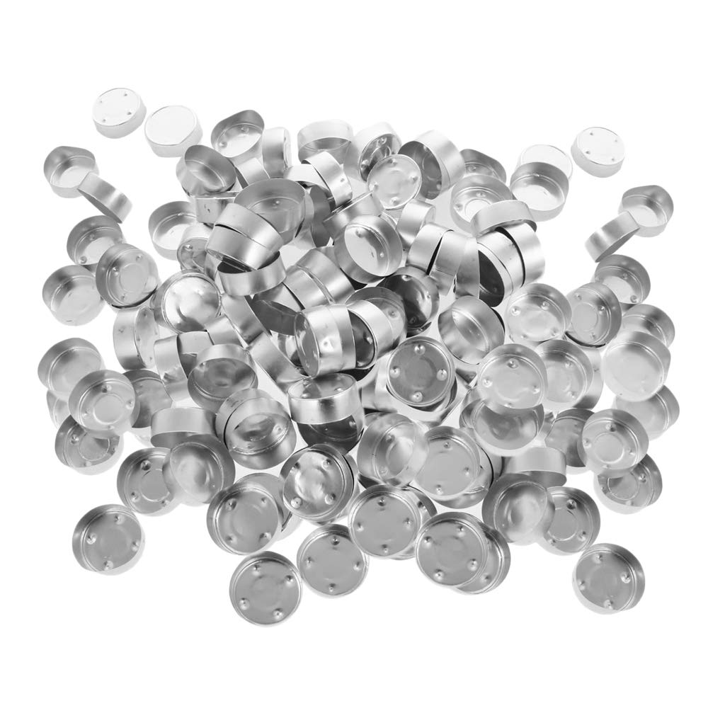 Prettyia 200 Pieces Round Shaped Aluminium Tea Light Cups Candle Holders for Candle Making Kit, Tealight Candles Holder Cup Set for Weddings Decoration - 38x12mm