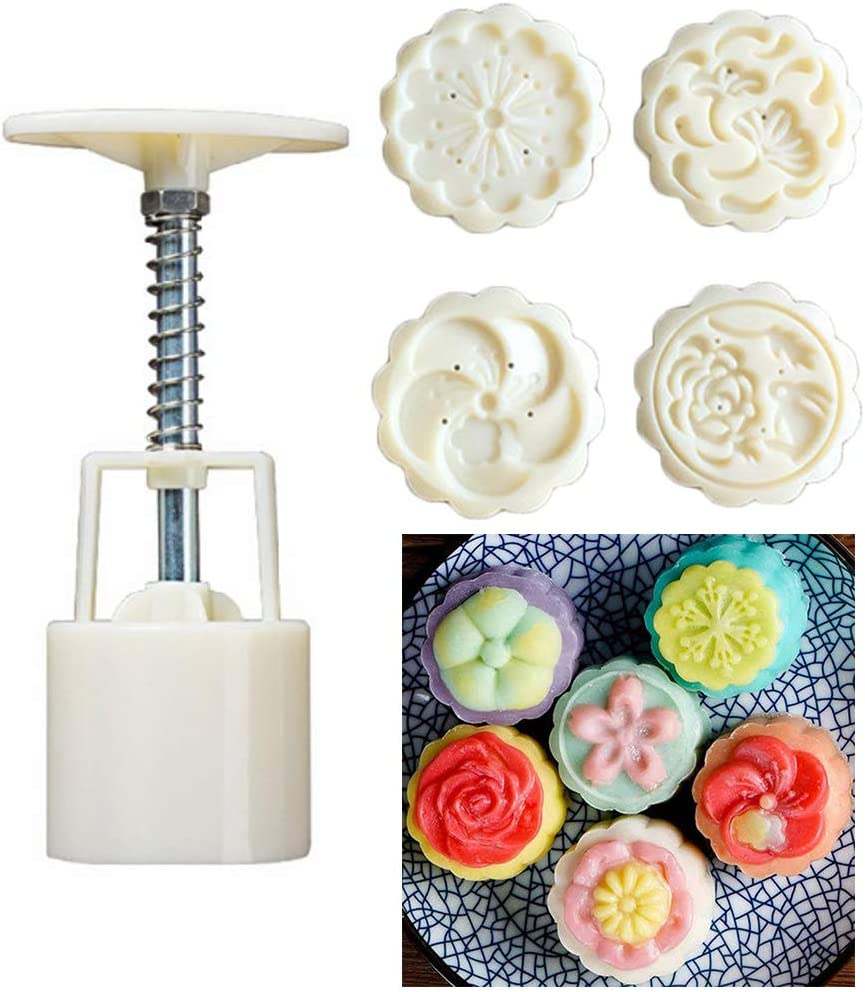 Yajom Mooncake Mold 50g Flower Shapes Cookie Stamps for DIY Baking Pastry Desserts Tool
