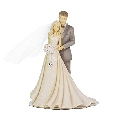 Enesco 6004961 Foundations Bride and Groom Wedding Cake Topper, 7 Inche, Multicolor: Kitchen & Dining