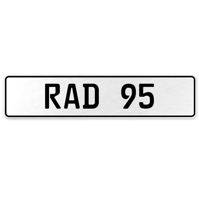 Vintage Parts 553999 RAD 95 White Stamped Aluminum European License Plate