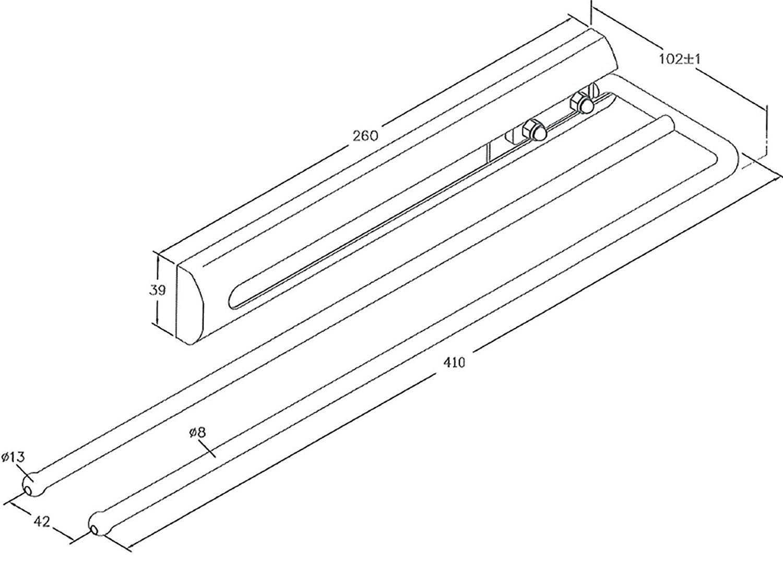 410 mm//Toallero Extensible SO-TECH/® Toallero Cromo//con 2 Brazos