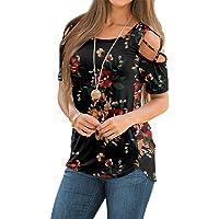 Women Plus Size V Neck Tunic Tops Cold Shoulder Short Sleeve Blouse Irregular Hem Strappy Flowy Pleated T-Shirt Tee