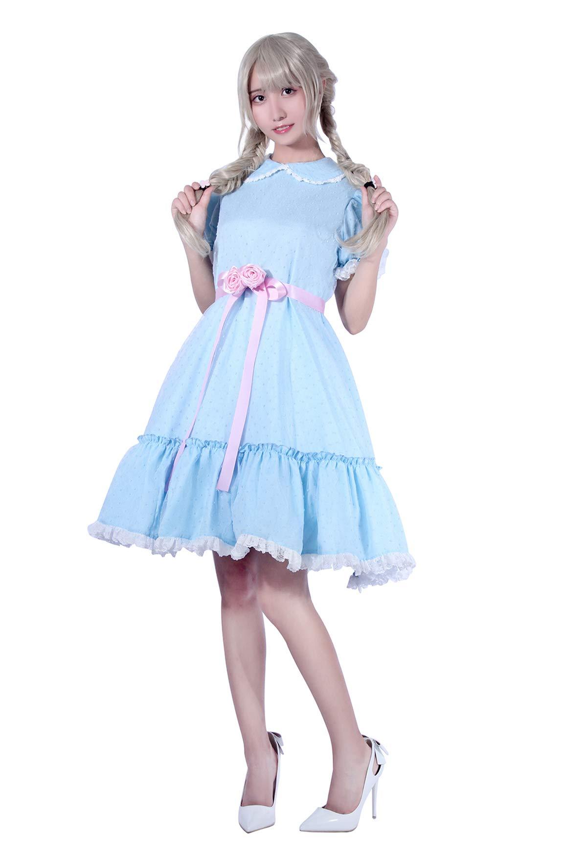 Women's Sweet Lolita Dress Blue Cotton Bow Puff Skirts Halloween Costumes